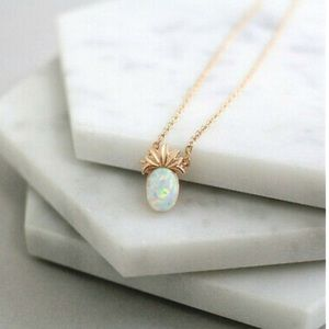 🍍NEW! Opal Pineapple Dainty Necklace Boho Cute
